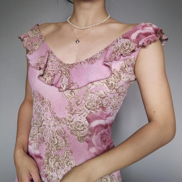 Vintage Pink Floral Mesh Overlay Dress